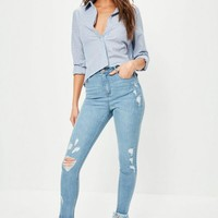 Missguided - Blue Sinner High Waisted Fray Hem Ripped Skinny Jeans