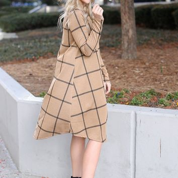 'Torunn' Long Sleeve Mock Neck Swing Dress (Camel)