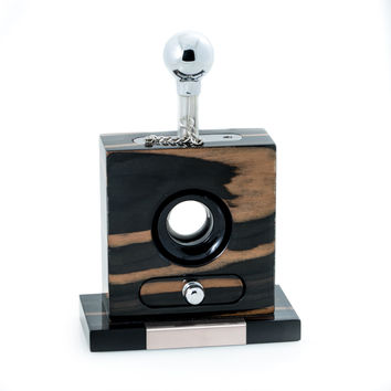 "Lacquered ""Ebony"" Wood and Stainless Steel Table Top Guillotine Cigar Cutter"