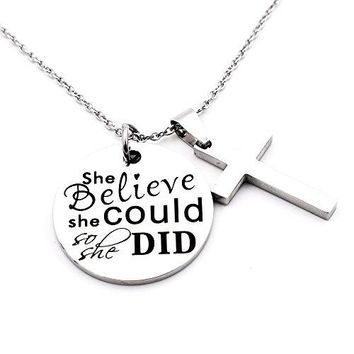 AUGUAU N.egret Necklace Chain Cross Pendant Inspirational Jewelry Quotes Gift for Girl Teen Daughter men Birthday