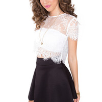 Velvet Lace Crop Top - White