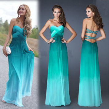 Fashionable Ombre Dress Gradual Changing Color Green Prom Dresses Formal Gowns Homecoming Dresses