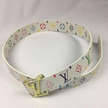 DCCKR2 LV Stylish Unisex Smooth Buckle Belt Colorful Print Leather Belt White I