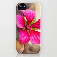 Impressions Spa stones with a mallow flower iPhone & iPod Case by Tanja Riedel