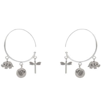 Dragonfly Lotus and Elephant Charm Sterling Silver Hoop Earrings.