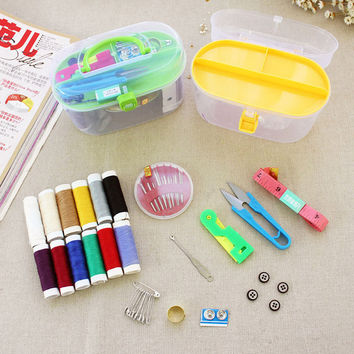 New 1 Set Thread Threader Needle Tape Measure Scissor Thimble Leather Mini Travel Plastic Storage Box Sewing Kit Tool