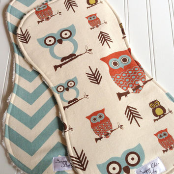Baby Boy Burp Cloths - Triple Layer Chenille - Set of 2 - Owls and Village Blue Chevron