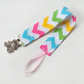 Baby Pacifier Clip Holder - Pacifier Clip - Multi Colored Chevron with Bear Clip - Baby Shower Gift Idea