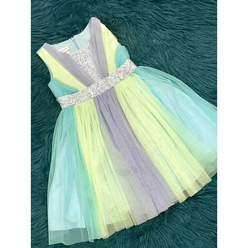 2019 SPRING & SUMMER MIXED BLUE & LIME BONNIE JEAN KIRA SEQUIN TULLE DRESS