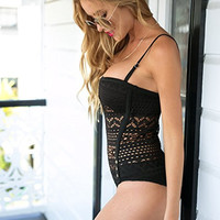 Padded Bustier 3-Way Lace Panel Swimsuit in 15 Colors
