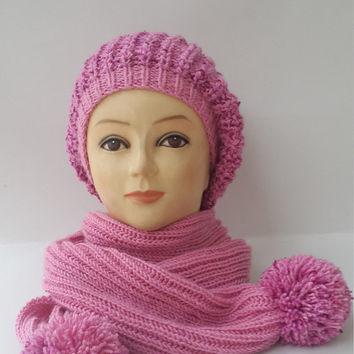 Hat and kerchief, Hat and scarf for the ladies, Hat and scarf, Ladies winter set, Pink hat and kerchief, Pompom hat and kerchief, Winter set