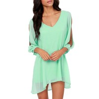 DJT Women Sexy Off Shoulder V-neck A-line Mini Strapless Loose Casual Dress Aqua S