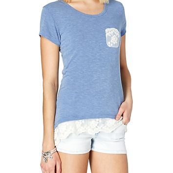 Lace Trim Pocket Tee