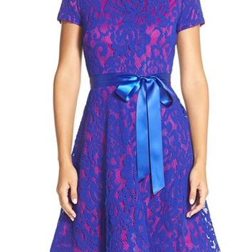 Women's Chetta B Lace Fit & Flare Dress,
