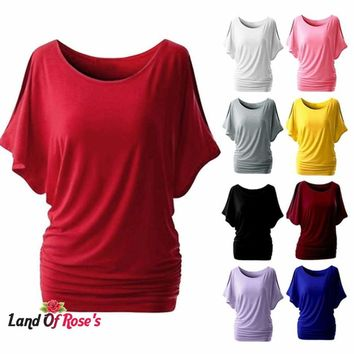 Plus Size Solid Women T-shirt Batwing Sleeve