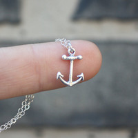Silver Anchor Necklace - Sterling Silver Anchor Charm . Womens Pendant . Nautical Fashion