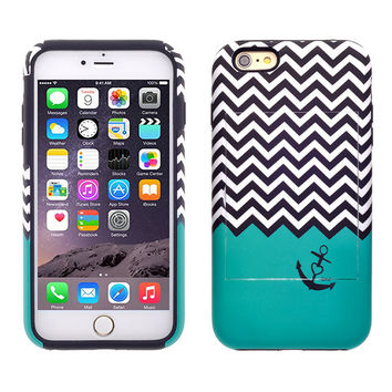 For Apple iPhone 6/6s Plus Dual Layer Credit Card Hybrid Case With Design, ID Holder with Kickstand - Teal Anchor