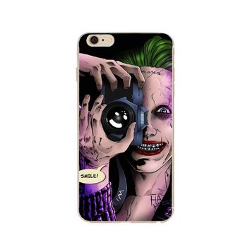 Smile Suicide Squad Joker Harley Quinn  Hard plastic Skin Protective Cover For Iphone 4 4S 5 5S SE 5C 6 6s 6Plus 7 Fundas Case