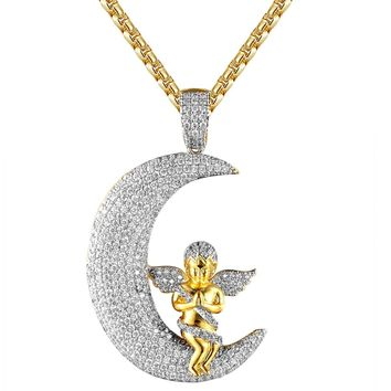 IcedOut Praying Baby Angel Crescent Moon Gold Tone Pendant