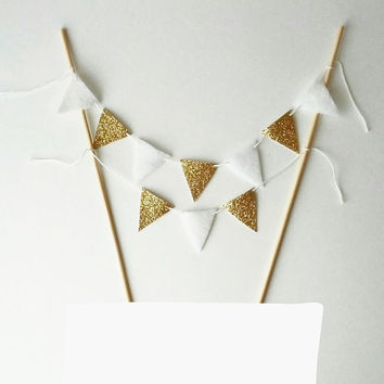 Wedding Cake Bunting - Felt Bunting Fabric Garland - Gold Cake Gold Party Decor - Cake Topper Gold Glitter Bunting -Gold White Cake Banner