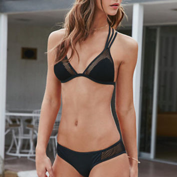 LA Hearts Mesh Overlay Fixed Triangle Bikini Top at PacSun.com