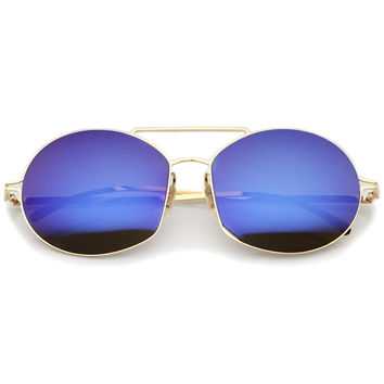 Modern Thin Metal Frame Mirrored Flat Lens Sunglasses A788