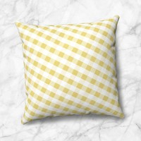 Yellow Gingham Throw Pillow - White Yellow Gingham Pattern - 4 Size Options - Cover Only or Full Pillow - Made to Order