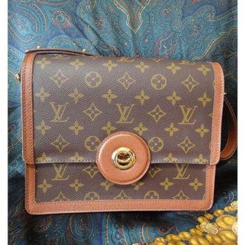 ESBYD9 Vintage Louis Vuitton rare brown and monogram shoulder purse with bullet eye turn lock