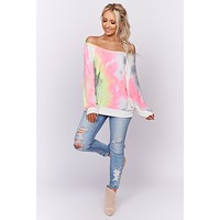 Galactic Disco Tie Dye Long Sleeve Top (Charcoal)