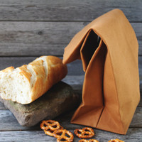 "The ""Brown"" Bag // Caramel Brown UNWAXED Canvas Lunch Bag, an updated, eco-friendly classic"