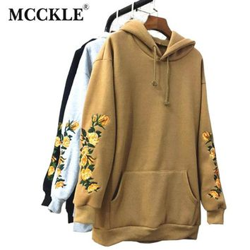 MCCKLE  American Apparel Hooeded Sweatshirt Elegant Embroidery Flowers Long-sleeved