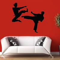 Vinyl Wall Decal Sticker Bedroom Fight Figure Hitting Muay Thai Kick Boxing R1620