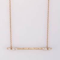 Hammered Bar Necklace - Worn Gold