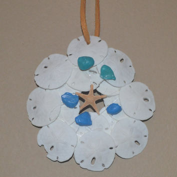 White Sand Dollar Wall Hanging With Starfish and Blue Stones Home Decor