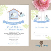 Gay Wedding Invitation and RSVP card set | Same Sex Wedding | Love Birds | Groom and Groom
