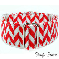 """Christmas Martingale Dog collar, 1.5"""" martingale, chevron dog collar, red martingale collar, 2 inch martingale, whippet collar, great dane"""