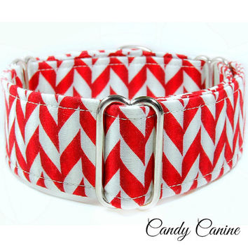 "Christmas Martingale Dog collar, 1.5"" martingale, chevron dog collar, red martingale collar, 2 inch martingale, whippet collar, great dane"
