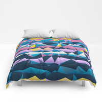Multi colored purple blue quilted pattern abstract Comforters by Sheila Wenzel