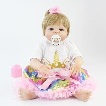 55cm Full Silicone Body Reborn Baby Blonde Girls Doll Toy Vinyl Newborn Princess Babies With Unicorn Clothes Alive Bebe Boneca