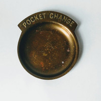 Pocket change brass change vintage dish