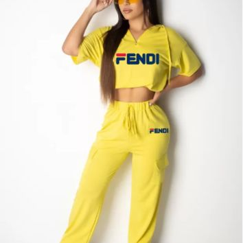 FENDI Hot Sale Women Casual Print Short Sleeve Top Pants Set Two-Piece Sportswear Yellow
