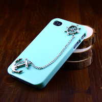 Iphone 4 4s case cover, Blue Navy Silver Anchor & Helm Chain Case Iphone 4S,DIY ETSY iphone Cover 4S/