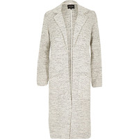 River Island Womens Beige woven relaxed side split duster jacket