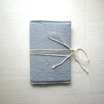 Handmade hand-dyed light blue canvas double passport wallet - Volcano Store