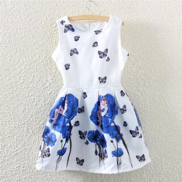 PEAPUG3 Summer Korean Slim Butterfly Print Sleeveless Vest One Piece Dress [4919327620]