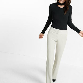 low rise stacked wide waistband editor flare pant
