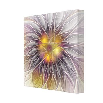 Luminous Colorful Flower, Abstract Modern Fractal Canvas Print