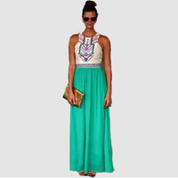 Sleeveless Geometric Pattern Lace Embroidered Spliced Maxi Dress