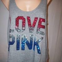 "VICTORIAS SECRET GRAY ""LOVE PINK"" RED WHITE BLUE SEQUIN BLING TANK TOP T SHIRT S"