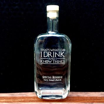 Premium Bottling Bottle with Game of Thrones Quotes, Deep Etched, Metallic